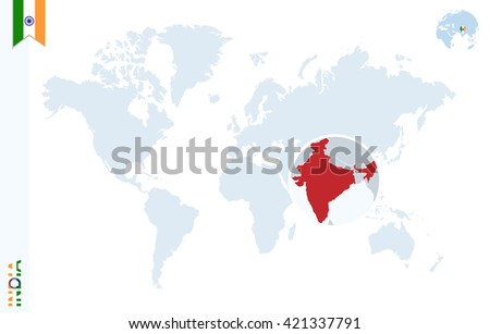 World map magnifying on india blue stock vector 421337791 world map with magnifying on india blue earth globe with india flag pin zoom gumiabroncs Choice Image