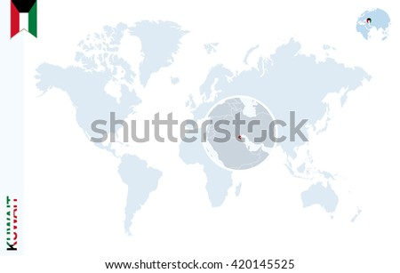 World map with magnifying on Kuwait. Blue earth globe with Kuwait flag pin. Zoom on map. Vector Illustration - stock vector