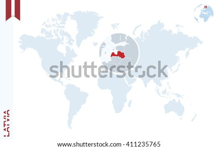 World map with magnifying on Latvia. Blue earth globe with Latvia flag pin. Zoom on Latvia map. Vector Illustration - stock vector