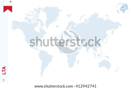 World map with magnifying on Malta. Blue earth globe with Malta flag pin. Zoom on Malta map. Vector Illustration