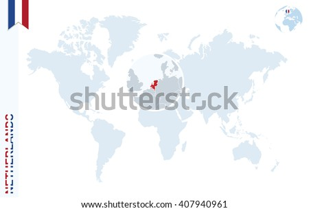 World Map Magnifying On Netherlands Blue Stock Vector 407940961
