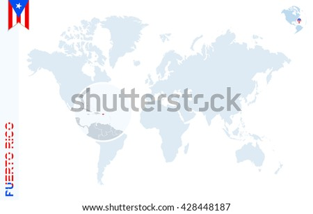 World map magnifying on puerto rico stock vector 428448187 world map with magnifying on puerto rico blue earth globe with puerto rico flag pin sciox Choice Image