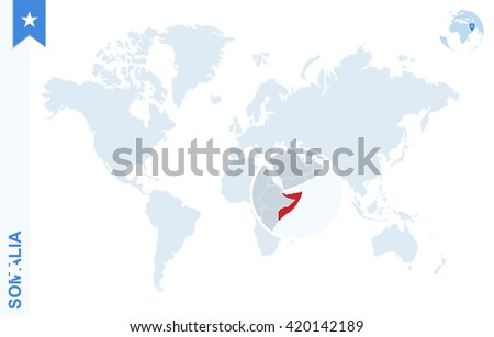 World map with magnifying on Somalia. Blue earth globe with Somalia flag pin. Zoom on map. Vector Illustration - stock vector