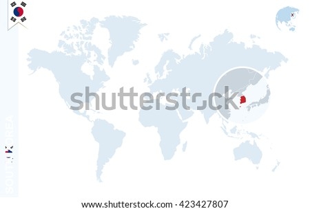 World map magnifying on south korea stock vector 423427807 world map with magnifying on south korea blue earth globe with south korea flag pin gumiabroncs Choice Image