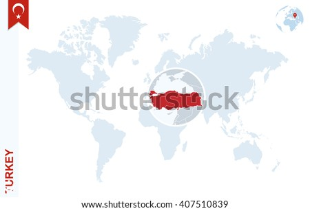 World map with magnifying on Turkey. Blue earth globe with Turkey flag pin. Zoom on Turkey map. Vector Illustration - stock vector