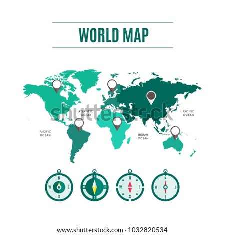 World map map pointers compass green stock vector 1032820534 world map with map pointers and compass in green collection design for web application interface gumiabroncs Image collections