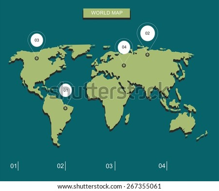World map markers stock vector 267355061 shutterstock world map with markers gumiabroncs Choice Image