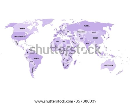 World map with names of sovereign countries and larger dependent territories. Simplified vector map in four shades of violet on white background. - stock vector
