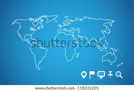 World map with navigation pointers set. Vector image. - stock vector