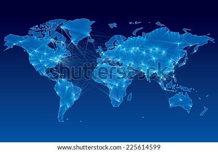 World map with nodes linked by lines. Eps8. CMYK. Organized by layers. Global colors. Gradients used. - stock vector