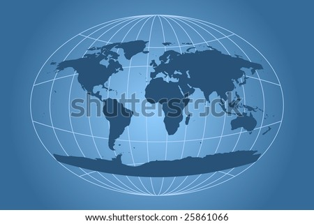 world map with oval-shaped grid - stock vector