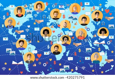 World map with people icons. Global communication and technologies vector.