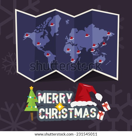 world map with point of santa clause hat come with merry christmas letters design. christmas concept - vector illustration - stock vector