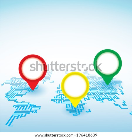 World map with pointer marks background - stock vector