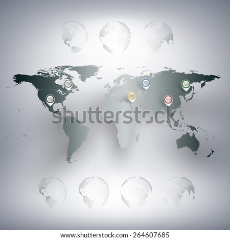 World map with pointer marks. Infographics for business design and website template