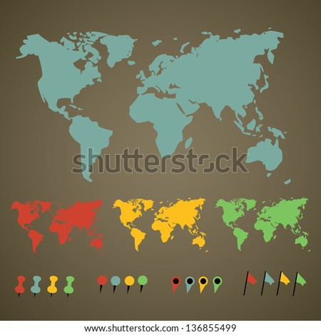 world map with pointers - stock vector