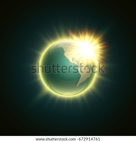 World map rising sun banner globe vector de stock672914761 shutterstock world map with rising sun banner globe icon in space sunlight poster planet earth gumiabroncs