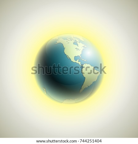 World map rising sun banner globe vectores en stock 744251404 world map with rising sun banner globe icon in space sunlight poster planet earth gumiabroncs