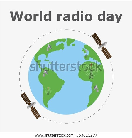 World map satellites radio day concept stock vector 563611297 world map with satellites radio day concept isolated flat vector illustration gumiabroncs Gallery