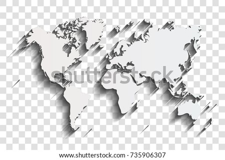 World map shadow on transparent background vector de stock735906307 world map with shadow on a transparent background gumiabroncs Gallery