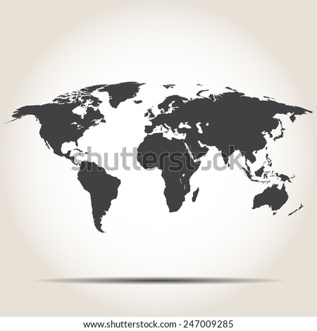 World map with shadow on gray background - stock vector