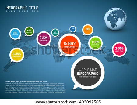 World map with simple pointer marks (speech bubbles) - minimalist infographics concept, blue version - stock vector