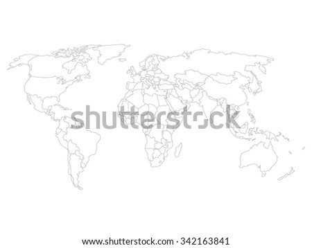 World map with smoothed country borders. Thin black outline on white background. - stock vector