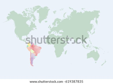 World map south america countries watercolor vectores en stock world map with south america countries in watercolor effect gumiabroncs Gallery