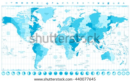 World Map with Standard Time Zones soft tints of blue and clock icons isolated on white - stock vector