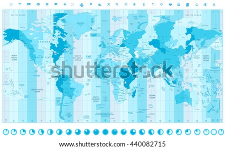 World Map with Standard Time Zones soft tints of blue with clock icons - stock vector