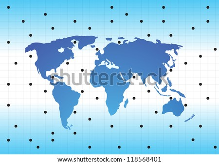World map with textured countries. Vector illustration