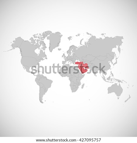 World Map Mark Country Middle East Stock Vector 427095757