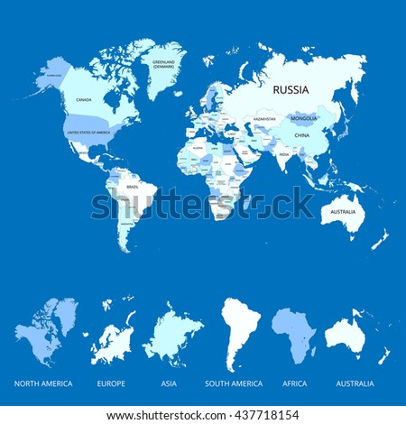 World Map Name Countries Continents Vector Stock Vector - Earth map countries