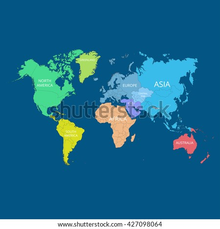 World map names continents vector illustration vectores en stock world map with the names of the continents vector illustration gumiabroncs Images