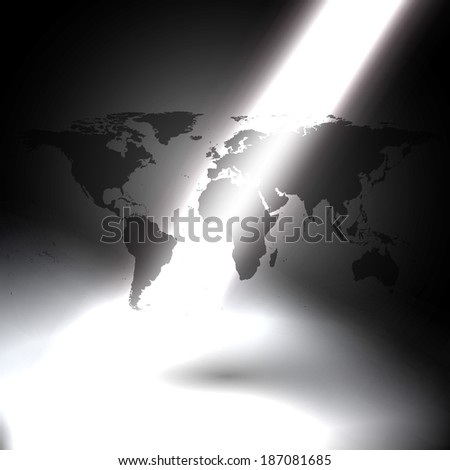 World map shadow on gray background stock vector 187081685 world map with the shadow on the gray background in the rays of light vector sciox Image collections