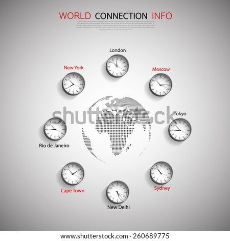 World Map with time zones - stock vector