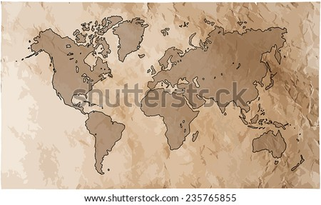 World map with track lines in vintage pattern. Vector illustration, contains transparencies.