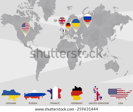 World map ukraine russia france germany stock vector 259631444 world map with ukraine russia france germany united kingdom usa pointers sciox Images