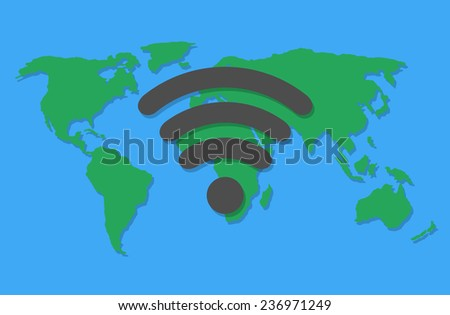 World map with wifi sign. Flat design - stock vector