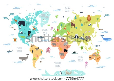 World map wild animals living on stock vector royalty free world map with wild animals living on various continents and in oceans cute cartoon mammals gumiabroncs Image collections