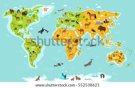 World Map Wildlife Animals Vector Illustration Stock Vector - Map of the world continents