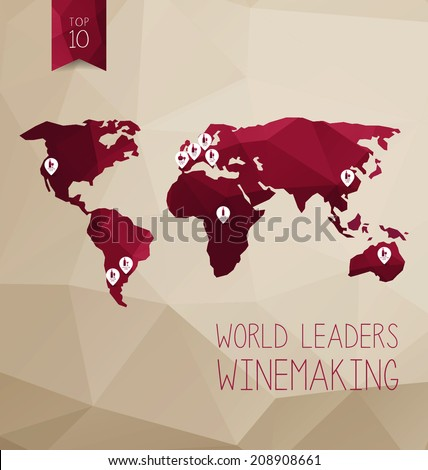 World map with wines. Vector illustration concept. World leaders winemaking - stock vector