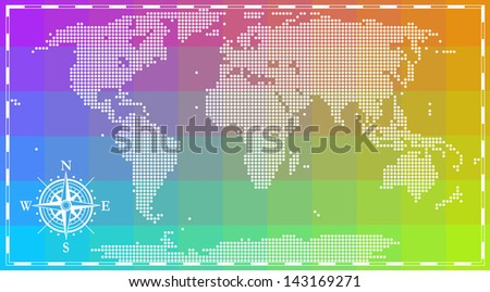 World map with wing rose for info graphics - stock vector