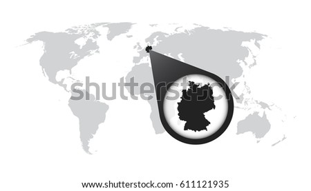 World Map Zoom On Germany Map Stock Vector Shutterstock - World map germany