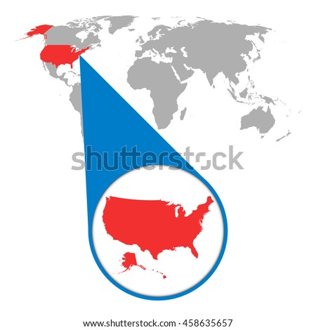 world map with zoom on usa america map in loupe vector illustration in flat