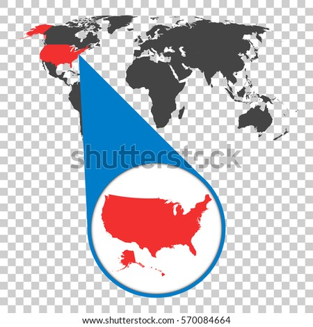 World map zoom on usa america vectores en stock 570084664 shutterstock world map with zoom on usa america map in loupe vector illustration in flat gumiabroncs Gallery