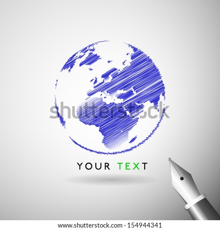 World map writing concept in vector format - stock vector