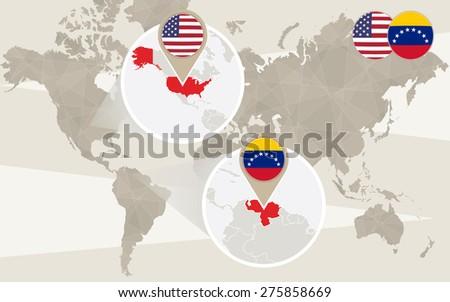 World map zoom on USA, Venezuela. Vector Illustration. - stock vector