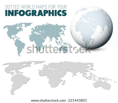 World maps and 3d globe elements for your infographics reports - stock vector