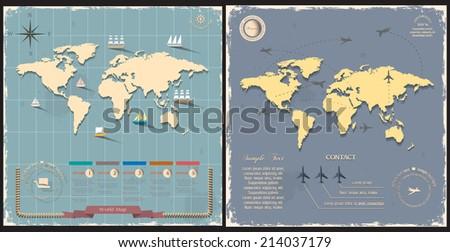 World maps in retro style design. Vector eps10   - stock vector